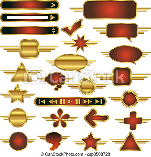 Vector Web Design Elements Collection with Gold Metal Trim - csp3508728
