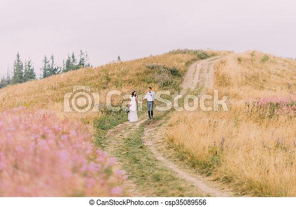 Happy wedding couple walks on the meadow in Alps. Honeymoon.