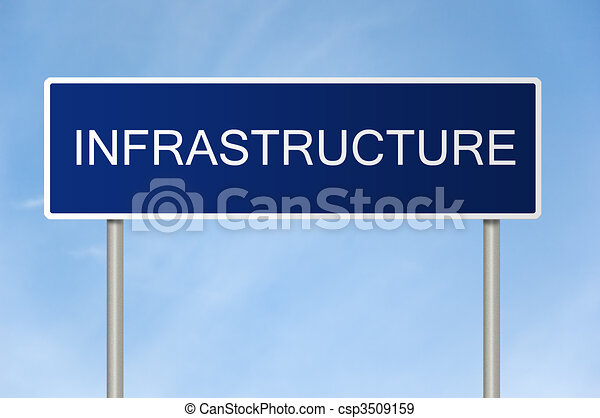 Road sign with text Infrastructure - csp3509159