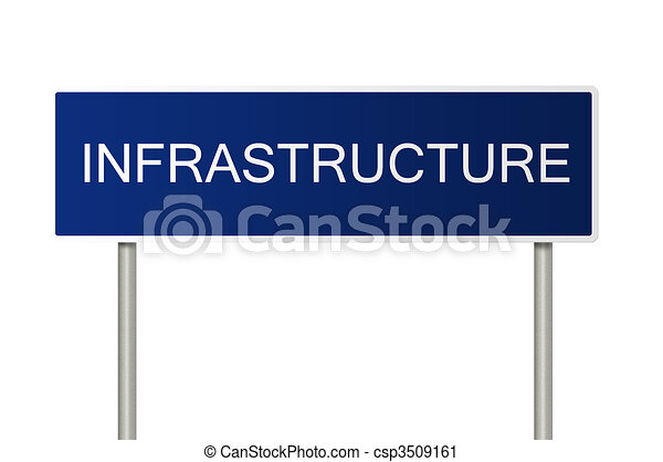 Road sign with text Infrastructure - csp3509161