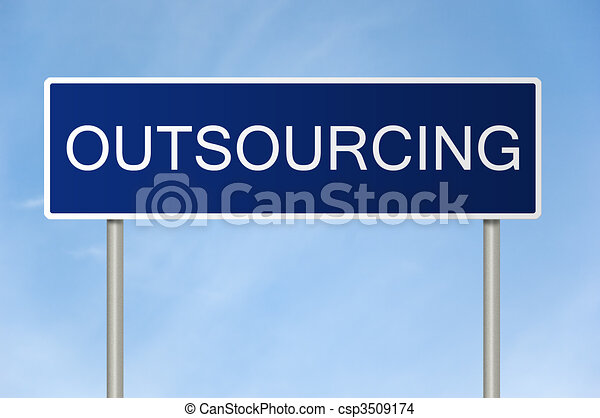 Road sign with text Outsourcing - csp3509174
