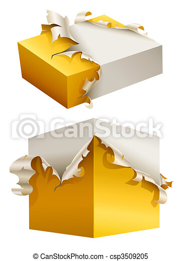gift box in torn yellow packing - csp3509205