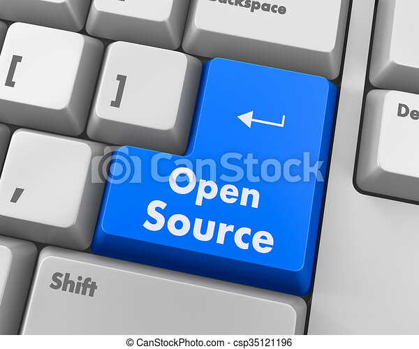 Stock illustration of open source keyboard button hand pushing open source csp35121196 Open source illustrator