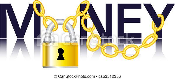 Vector - Money, chain and padlock - csp3512356