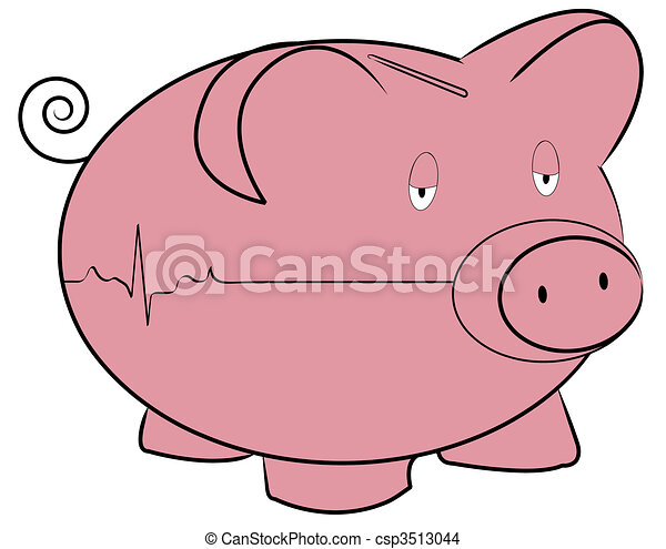 piggy bank with flatline heart rhythm - money concept - csp3513044
