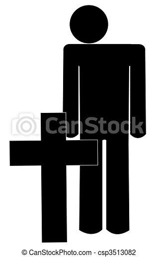 stick man standing in front of war memorial cross  - csp3513082