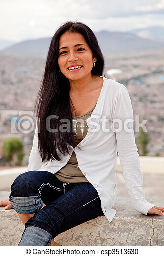 A attractive Latin Woman in south america - csp3513630