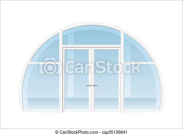 Open Double Door Drawing eps vector of arched window and door - double doors open onto a
