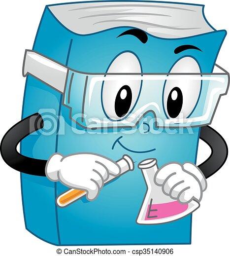 química, libro, experimento, mascota - csp35140906