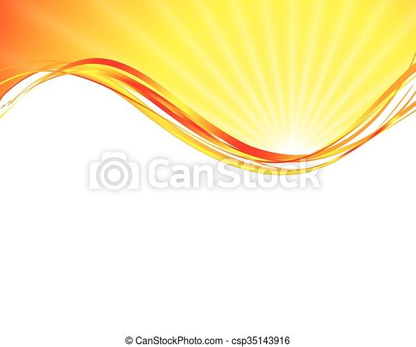sun on yellow background  - csp35143916