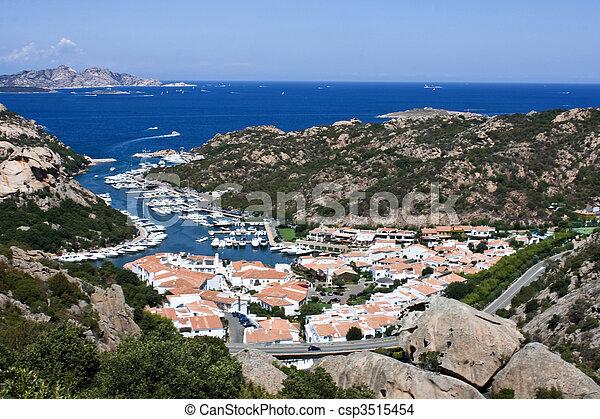 Aerial View Above Poltu Quatu - Sardinia, Italia - csp3515454