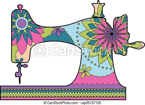 vecteur clipart de machine couture color vector machine coudre color csp35157155. Black Bedroom Furniture Sets. Home Design Ideas