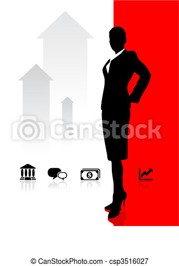 Business woman on background with banking and financial icons - csp3516027