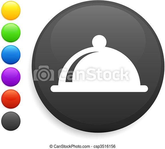 dinner platter icon on round internet button - csp3516156