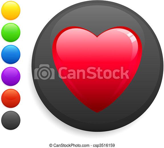 heart icon on round internet button - csp3516159