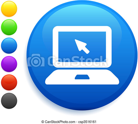 computer laptop icon on round internet button - csp3516161