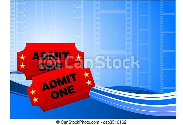 Movie tickets on film background - csp3516162