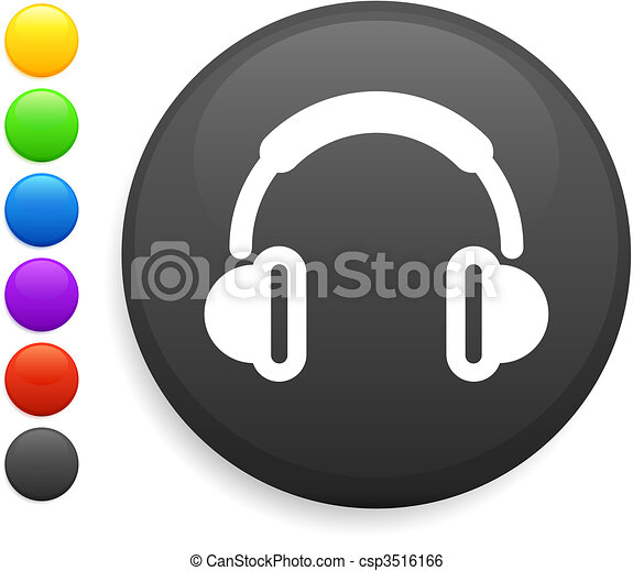 headphone icon on round internet button - csp3516166
