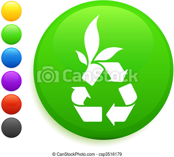 recycle icon on round internet button - csp3516179
