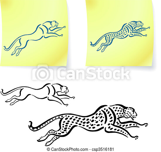 Jaguar and leopard drawings on post it notes - csp3516181