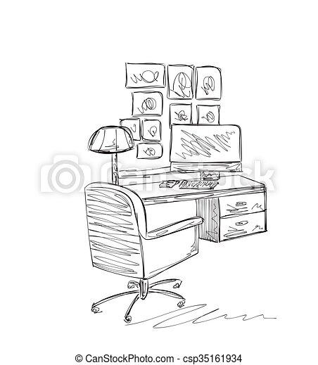 Stuhl gezeichnet  Vektoren von sketch., arbeit, hand, ort, gezeichnet, tisch, stuhl ...