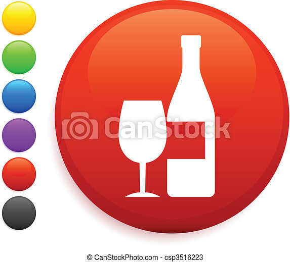 wine icon on round internet button - csp3516223
