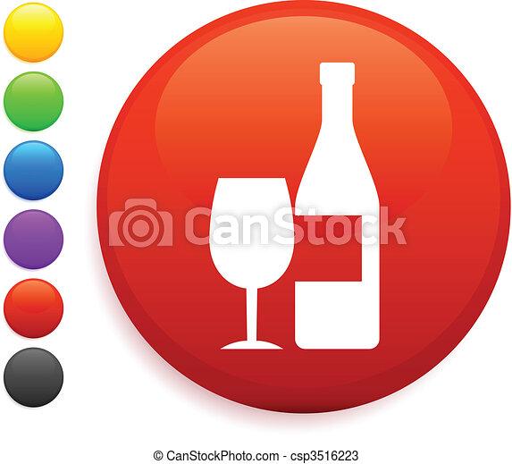 wine icon on round internet button - csp3516223