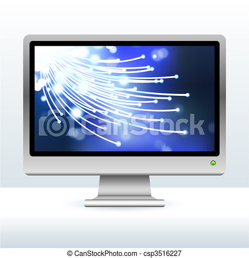 computer monitor with fiber optic internet background - csp3516227