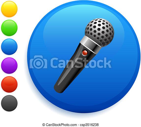 microphone icon on round internet button - csp3516238