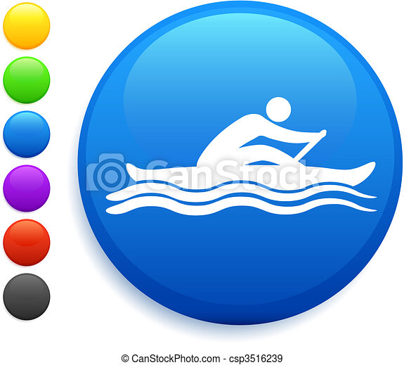 rowing icon on round internet button - csp3516239