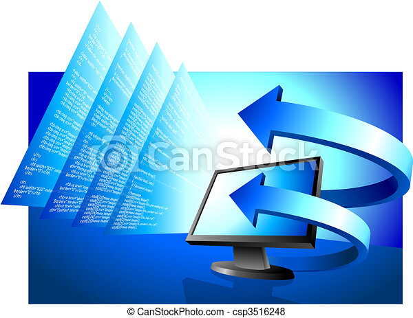 Computer monitor with arrows on financial background - csp3516248