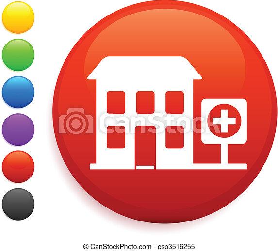 hospital icon on round internet button - csp3516255