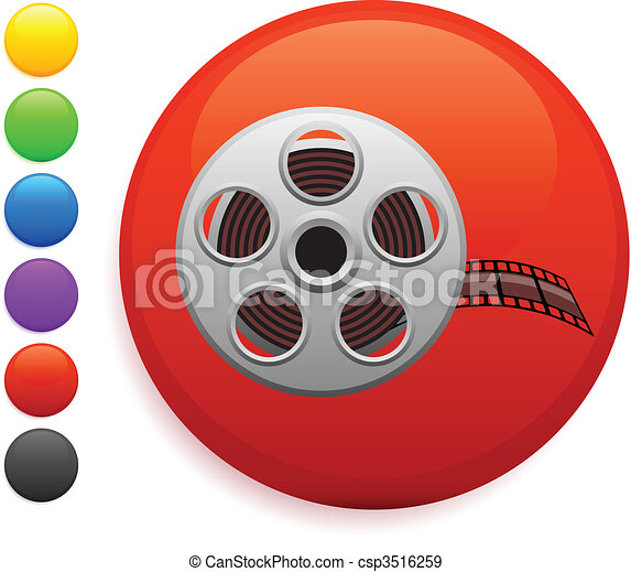film reel icon on round internet button - csp3516259