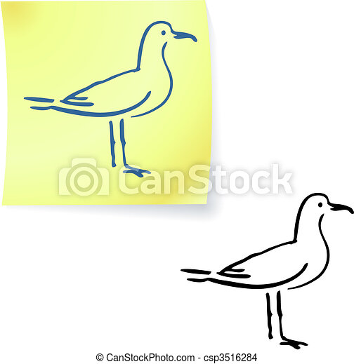 seagull on post it notes - csp3516284