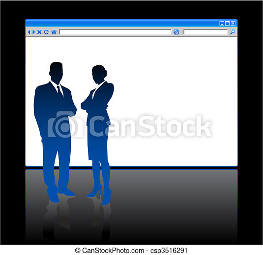 Business people on background with web browser blank page - csp3516291
