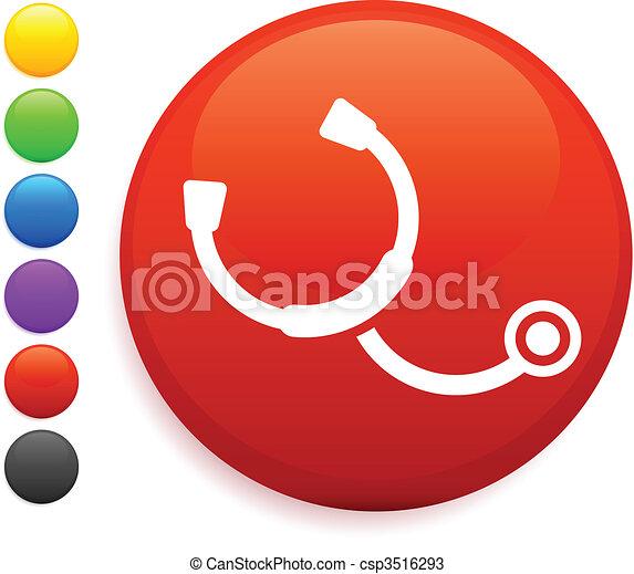 stethescope icon on round internet button - csp3516293