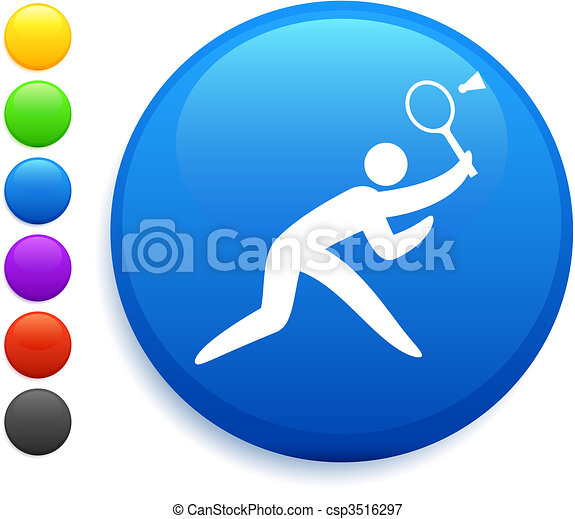badminton icon on round internet button - csp3516297