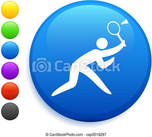 badminton icon on round internet button - csp3516297