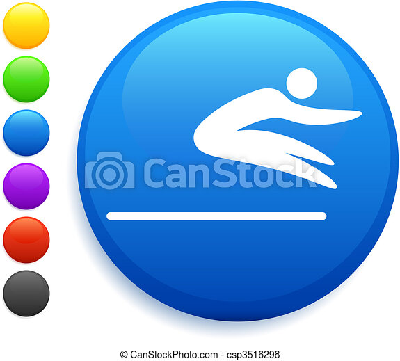 long jump icon on round internet button - csp3516298