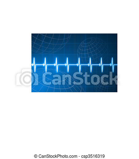 Pulse heart rate with wire frame globes internet background - csp3516319