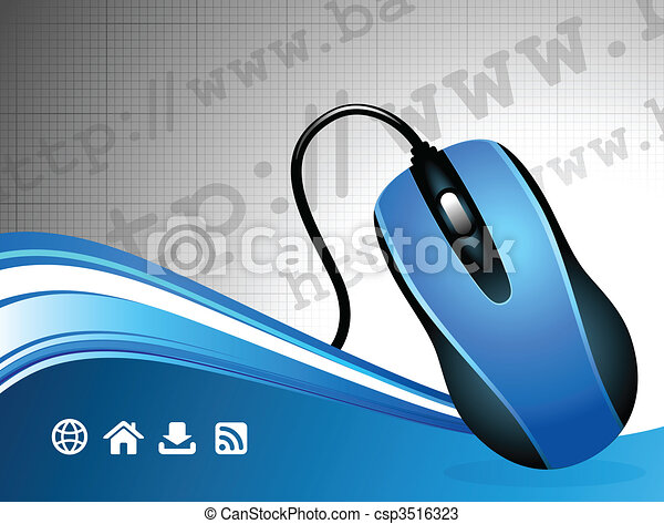 Global Communication internet background with computer mouse - csp3516323