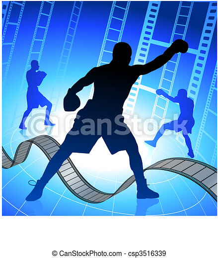 EPS Vectors of boxing on film strip/reel background csp3516339 ...