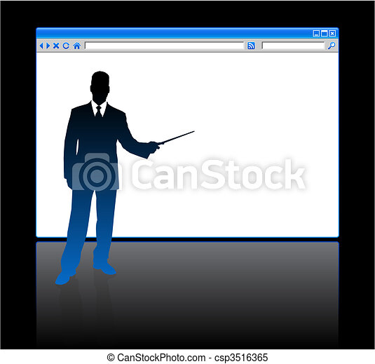 Businessman on background with web browser blank page - csp3516365