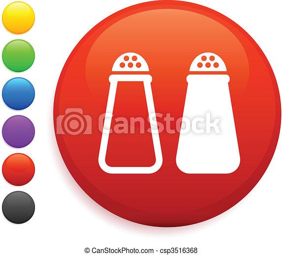 salt and pepper icon on round internet button - csp3516368