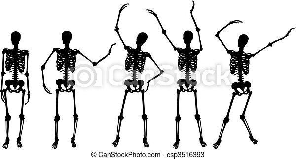 skeleton silhouette movements on white background - csp3516393