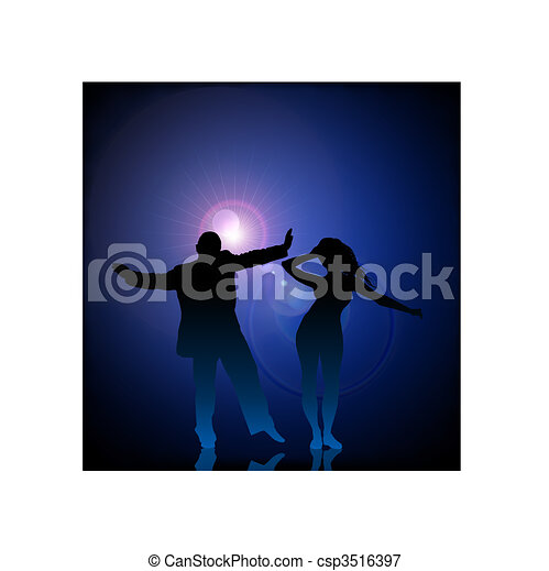 Man and woman dancing on vector lens flare - csp3516397