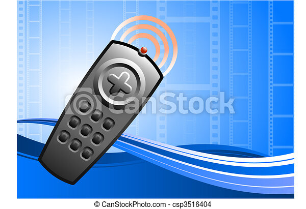 TV remote control on film background - csp3516404