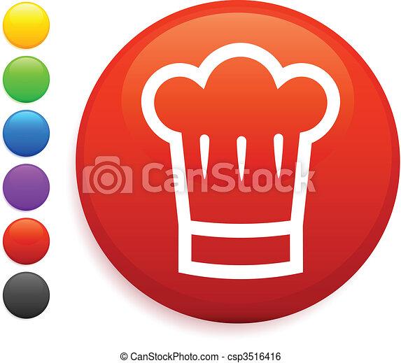 chef hat icon on round internet button - csp3516416