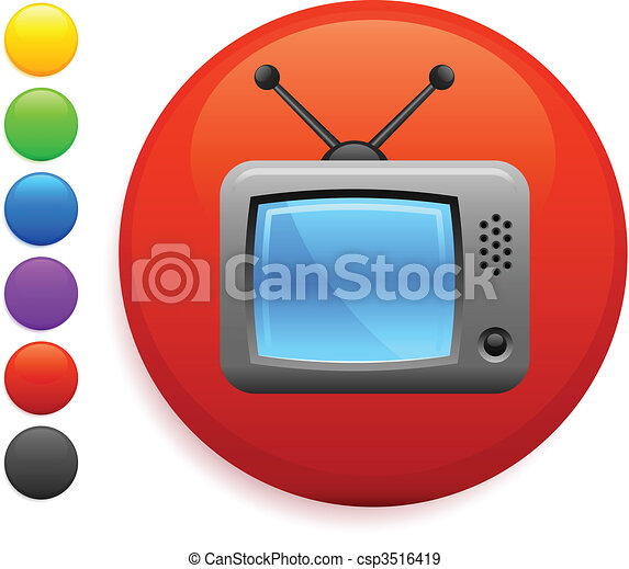 television icon on round internet button - csp3516419