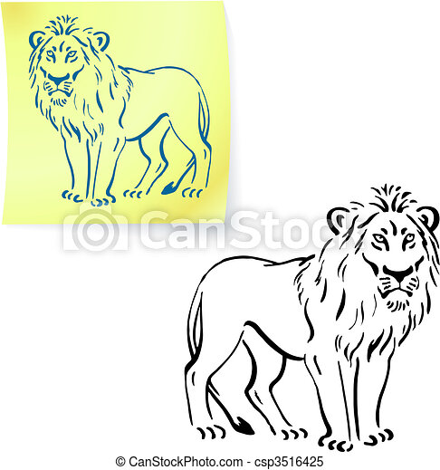 Lion drawing on post it note - csp3516425